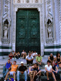 Buy People Sitting on Steps Outside Main Door of Duomo, Florence, Tuscany, Italy at AllPosters.com