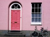 Bicycle Leaning Against Pink House, Oxford, Oxfordshire, England
