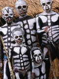 Sing Sing Group Members with Skeleton-Like Body Paint at Mt. Hagen Cultural Show, Papua New Guinea