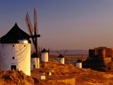 Windmills and Castle of Cresteria Manchega at Sunrise, Consuegra, Castilla-La Mancha, Spain