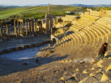 Person Walking Up Steps of Theatre, Dougga, Siliana, Tunisia