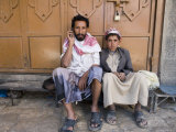 Yemenite Man and Boy Sitting in Doorway, San'a, Yemen