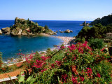 Populated Island Coastline, Isole Bella, Sicily, Italy