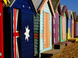 Brightly-Painted Beach Huts, Brighton, Melbourne, Victoria, Australia
