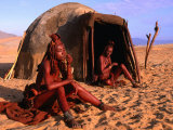 Himba Women in Front of Traditional Hut, Kaokoveld, Kunene, Namibia