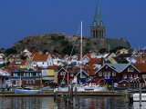 The Lovely Small Fishing Village of Fjallbacka and Its Large Church, Vaster-Gotaland, Sweden