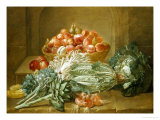 Still Life of Artichokes, Cabbages and Peaches