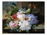 Pretty Still Life of Roses, Rhododendron and Passionflower