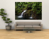 Buy Two Small Waterfalls Flow into Fresh Water Pond in a Rain Forest at AllPosters.com