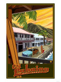 Old Lahaina Fishing Town with Surfer, Maui, Hawaii Art Print