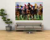 Horse Race in Motion Wall Mural