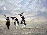 Eagle Hunters Dalai Khan, Takhuu Grandfather, Son Kook Kook, Golden Eagle Festival, Mongolia Photographic Print