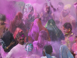 People Throwing Color Powder and Water on Street, Holy Festival, Barsana, India