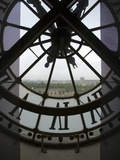 View Across Seine River Through Transparent Face of Clock in the Musee d