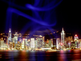 Skyline at Night Reflected in Victoria Harbour, Kowloon, Hong Kong
