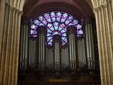 Detail of Notre Dame Cathedral Pipe Organ and Stained Glass Window, Paris, France
