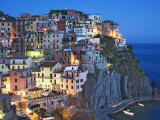 Dusk Falls on a Hillside Town Overlooking the Mediterranean Sea, Manarola, Cinque Terre, Italy,