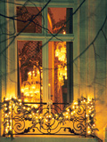Wrought Iron Railing with Christmas Decorations, Baccarat Museum Shop and Restaurant