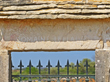 Gate and Key Stone Carved with Montrachet, Domaine Leflaive, Grand Cru Vineyard, Bourgogne, France