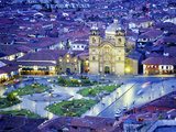 Nighttime Aerial View of the Main Square Featuring the Cathedral of Cusco, Cusco, Peru