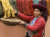 Woman in Traditional Dress, Wool Dyed Before Weaving, Chinchero, Cuzco, Peru