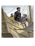 Jacques Cartier Aboard Ship Arriving on the Shore of Canada, c.1534