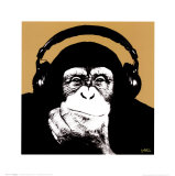 Headphone Monkey Art Print