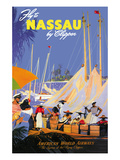 Fly to Nassau by Clipper Premium Poster