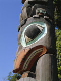 Close-up of Carved Totem in Vancouver, British Columbia, Canada