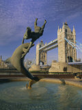 Fountain of Child with Dolphin and Tower Bridge, London