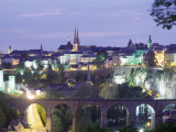 City Skyline at Dusk, Luxembourg City, Luxembourg, Europe