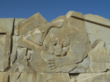 Carving of Lion and Bull on Tripylon Staircase, Persepolis, Iran, Middle East