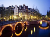 Lights on the Bridges at Night on the Keizersgracht in Amsterdam, Holland
