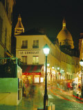 Cafes and Street at Night, Montmartre, Paris, France, Europe