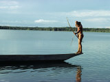 Indian Fishing with Bow and Arrow, Xingu, Amazon Region, Brazil, South America
