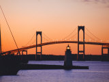 Newport Bridge and Harbor at Sunset, Newport, Rhode Island, USA
