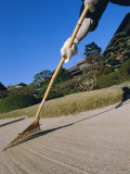 Raking Gravel Garden, Kanzeon Temple, Okinawa, Japan
