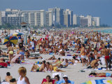Crowded Beach, Miami Beach, Florida, USA