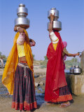 Two Women by a Well Carrying Water Pots, Barmer, Rajasthan, India