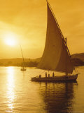 Feluccas Under Sail at Sunset on the Nile River, Egypt