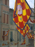 Flags and Lamps of the Chiocciola Contrada in the Via San Marco During the Palio, Siena, Italy