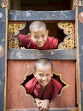 Young Buddhist Monks, Paro Dzong, Paro, Bhutan, Asia