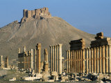 Grand Colonnade and the Arab Castle, Palmyra, Unesco World Heritage Site, Syria, Middle East