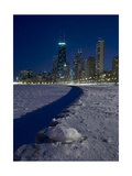 Chicago Skyline At North Ave Beach, Winter