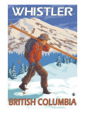 Skier Carrying Snow Skis, Whistler, BC Canada Art Print