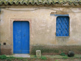 House with Blue Door and Window, Bagia, Sardinia, Italy, Mediterranean, Europe