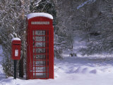 Red Letterbox and Telephone Box in the Snow, Highlands, Scotland, UK, Europe