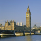 Westminster Bridge, the River Thames, Big Ben and the Houses of Parliament, London, England, UK