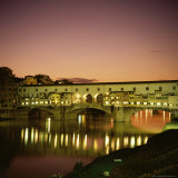 Reflections of the Ponte Vecchio Dating from 1345, Tuscany, Italy