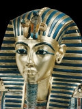 Tutankhamun's Funeral Mask in Solid Gold Inlaid with Semi-Precious Stones, Thebes, Egypt